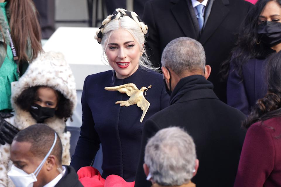 Lady Gaga arrives to sing the National Anthem at the inauguration of U.S. President Joe Biden on the West Front of the U.S. Capitol on January 20, 2021 in Washington, DC. (Photo: Alex Wong via Getty Images)