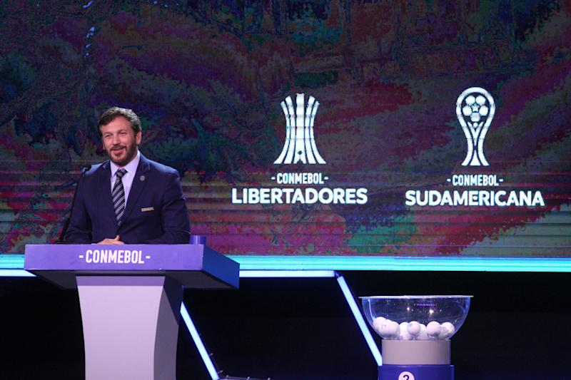 ASUNCION, PARAGUAY - DECEMBER 17: President of CONMEBOL Alejandro Dominguez speaks during the draw for the Copa CONMEBOL Libertadores and Sudamericana 2020 at Centro de Convenciones de CONMEBOL on December 17, 2019 in Asuncion, Paraguay. (Photo by Luis Vera/Getty Images)