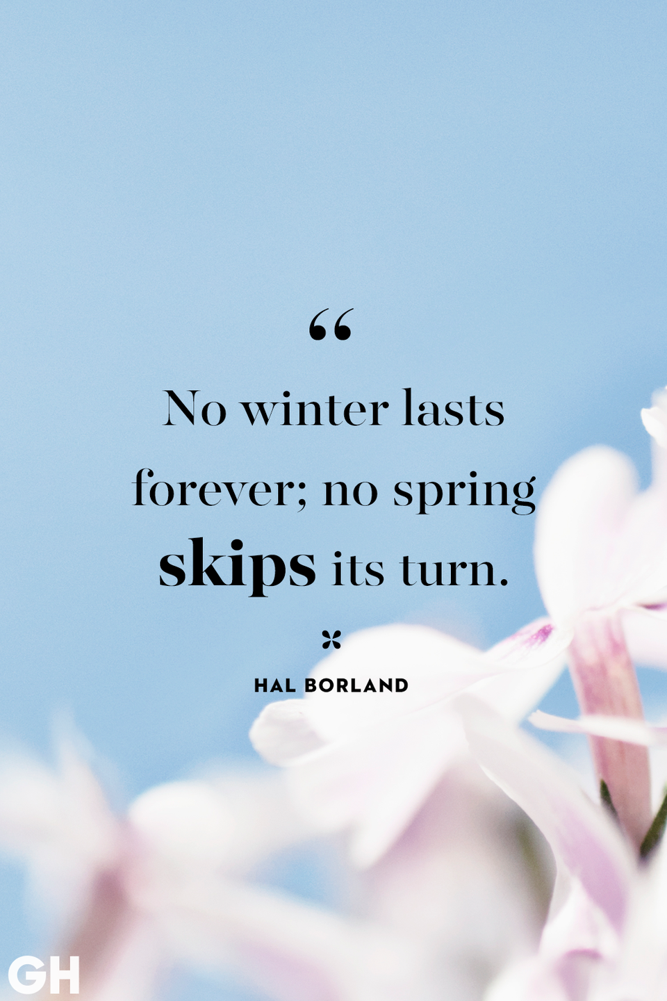 <p>No winter lasts forever; no spring skips its turn.</p>