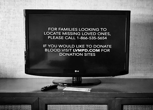 A message seen on a television inside a room at the Tropicana Hotel and Casino Monday. The casino, adjacent to the concert site, gave shelter to those fleeing the shooting. (Photo: Holly Bailey/Yahoo News)