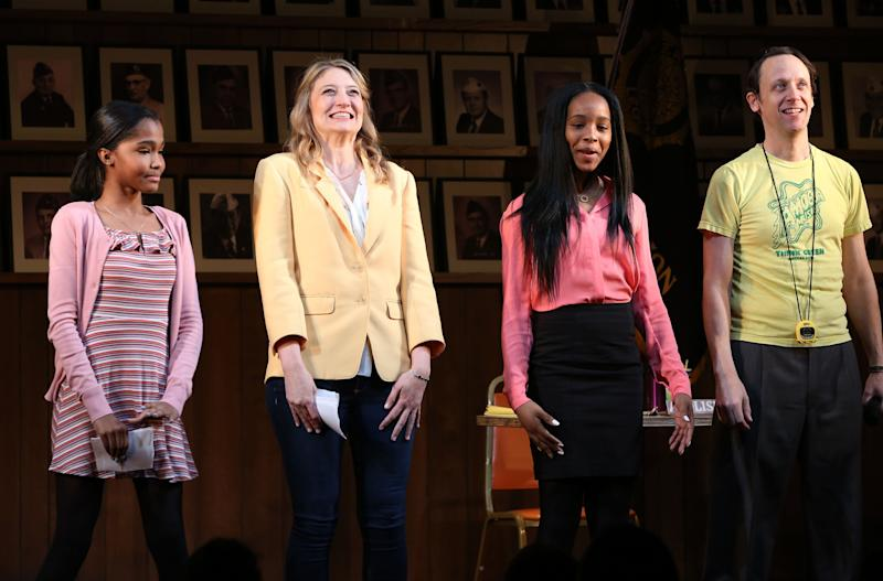 "Rosdely Ciprian, Heidi Schreck, Thursday Williams and Mike Iveson during the Broadway Opening Night Performance Curtain Call of ""What The Constitution Means To Me"" at the Hayes Theatre on March 31, 2019 in New York City."