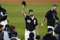 Chicago White Sox starting pitcher Carlos Rodon (55) celebrates his no hitter against the Cleveland Indians with his teammates in a baseball game, Wednesday, April, 14, 2021, in Chicago. (AP Photo/David Banks)