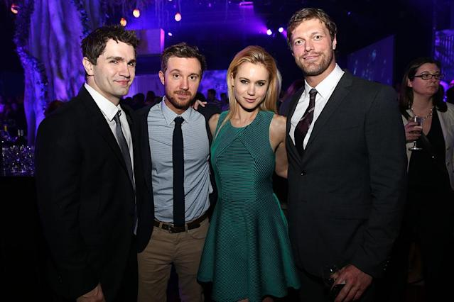 "Sam Witwer, Sam Huntington, Kristen Hager (""Being Human"") and Adam Copeland (""Haven"") attend the Syfy 2013 Upfront at Silver Screen Studios at Chelsea Piers on April 10, 2013 in New York City."