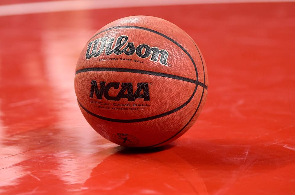 COLLEGE PARK, MD - DECEMBER 04:  A basketball on the floor during the game between the Maryland Terrapins and the St. Peter's Peacocks at Xfinity Center on December 4, 2020 in College Park, Maryland.  (Photo by G Fiume/ Maryland Terrapins/Getty Images)