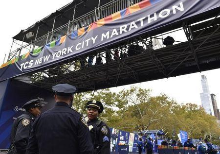 Nov 5, 2017; New York, NY, USA; Members of the New York City police department stand guard at the finish line of the 2017 TCS New York City Marathon. Mandatory Credit: Derik Hamilton-USA TODAY Sports