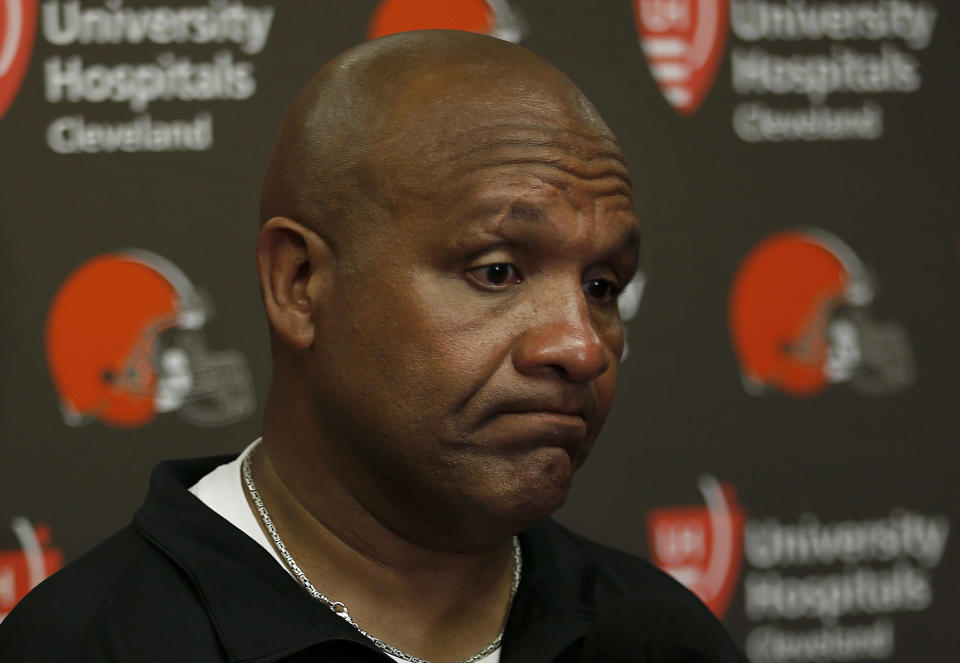 Hue Jackson compiled a 3-36-1 record as head coach of the Cleveland Browns. (AP)