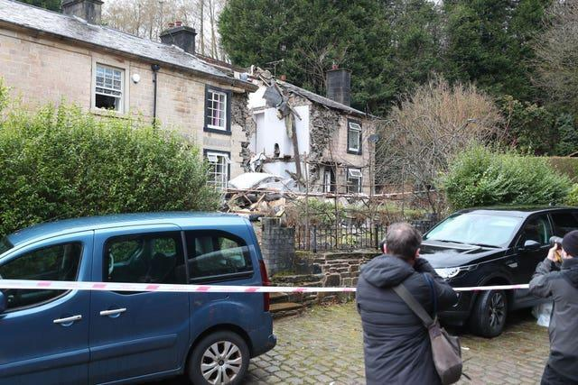 The scene in Ramsbottom, Bury, Greater Manchester, where the body of a woman has been found after a house collapsed (Peter Byrne/PA)