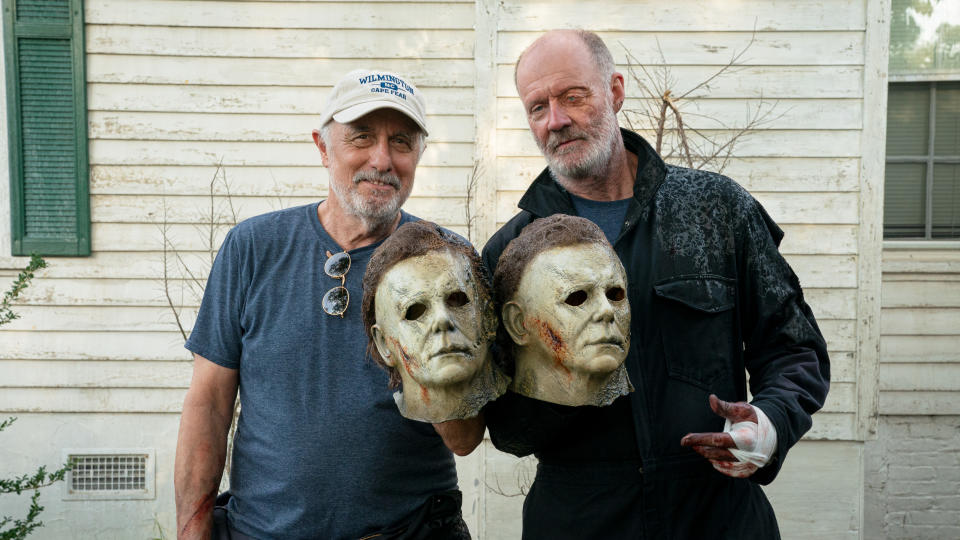 Franchise legend Nick Castle (left) and James Jude Courtney both portray Michael Myers in 'Halloween Kills'. (Ryan Green/Universal Pictures)