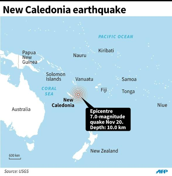 Map locating the epicentre of a 7.0-magnitude quake that struck off New Caledonia