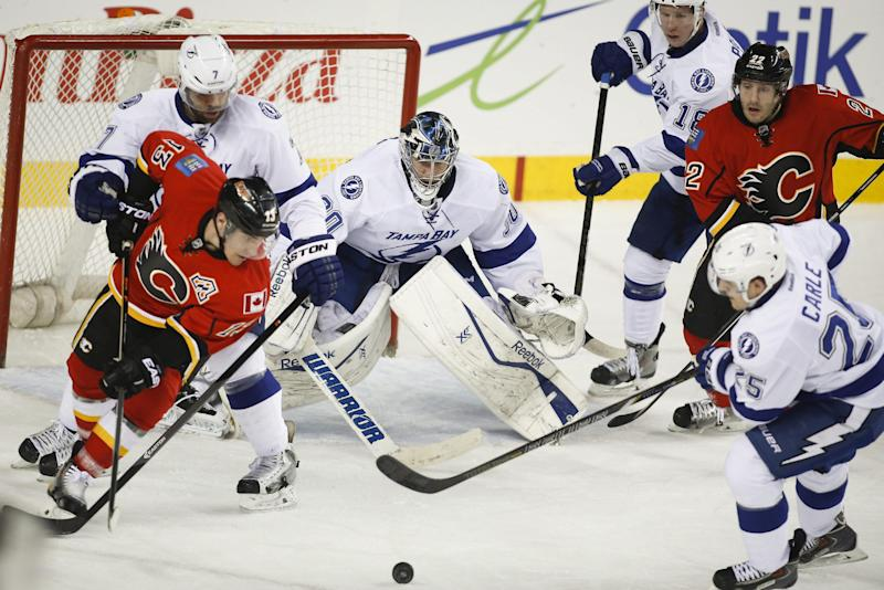 Bishop stops 19 shots, Lightning blank Flames 2-0