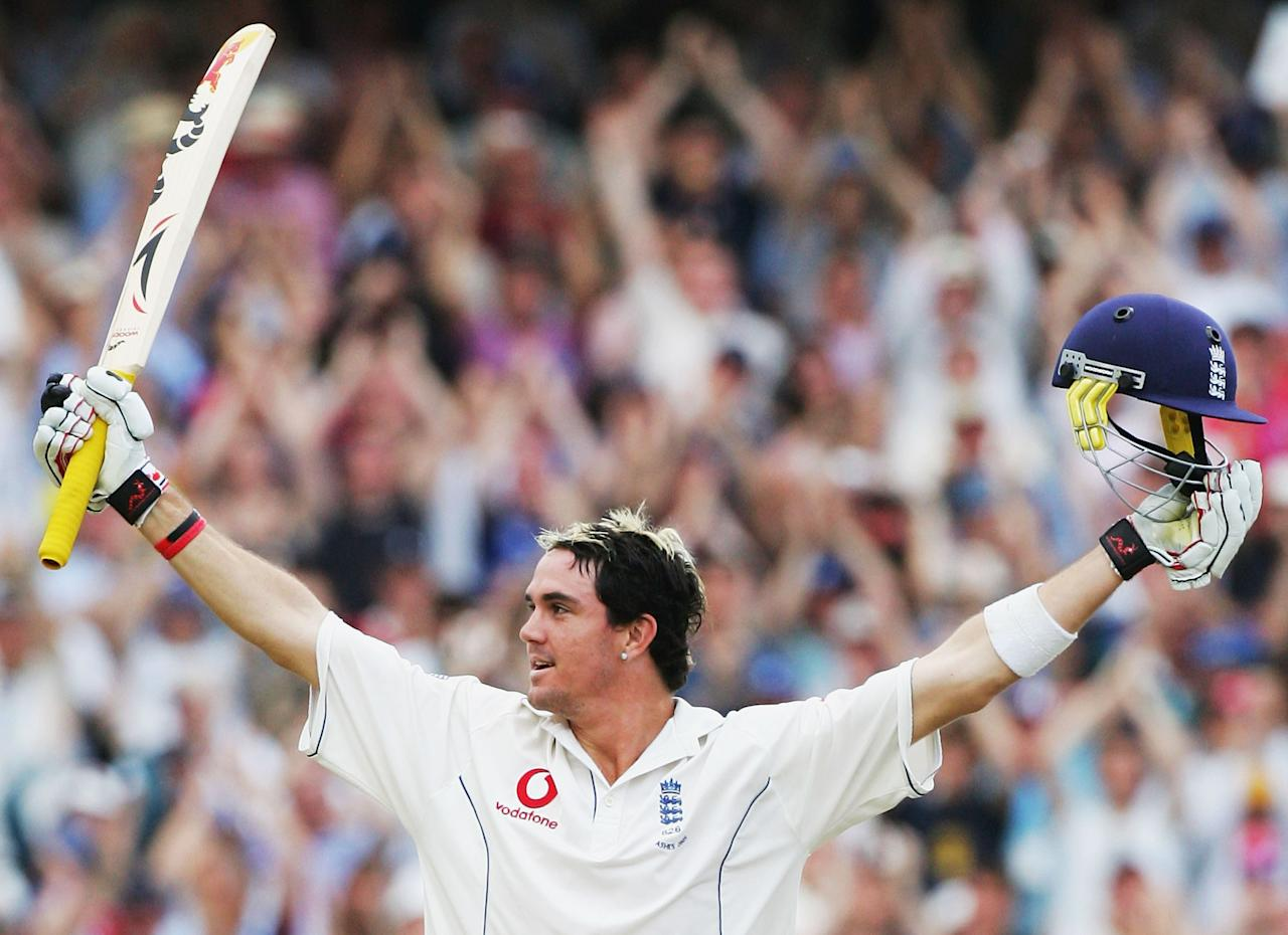 LONDON - SEPTEMBER 12:  Kevin Pietersen of England celebrates his maiden Test century during day five of the Fifth power Ashes Test between England and Australia played at The Brit Oval on September 12, 2005 in London, United Kingdom.  (Photo by Hamish Blair/Getty Images)