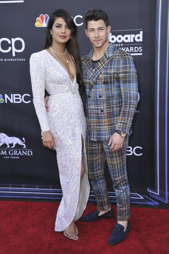 Priyanka Chopra, left, and Nick Jonas arrives at the Billboard Music Awards on Wednesday, May 1, 2019, at the MGM Grand Garden Arena in Las Vegas. (Photo by Richard Shotwell/Invision/AP)
