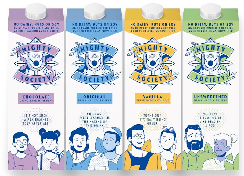 The Mighty Society's pea milk products