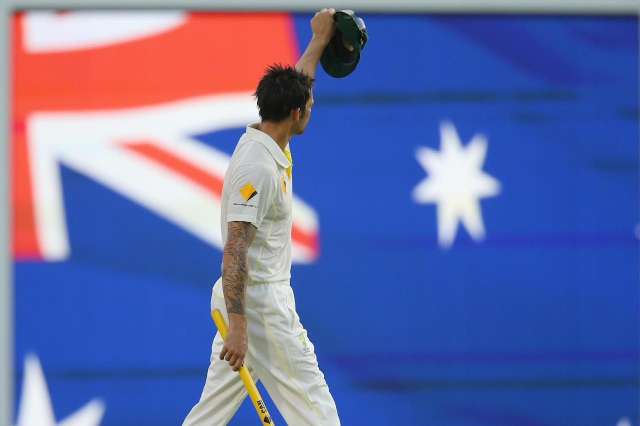 BRISBANE, AUSTRALIA - NOVEMBER 24:  Mitchell Johnson of Australia celebrates victory after he took the wicket of James Anderson of England to finish the test during day four of the First Ashes Test match between Australia and England at The Gabba on November 24, 2013 in Brisbane, Australia.  (Photo by Mark Kolbe/Getty Images)