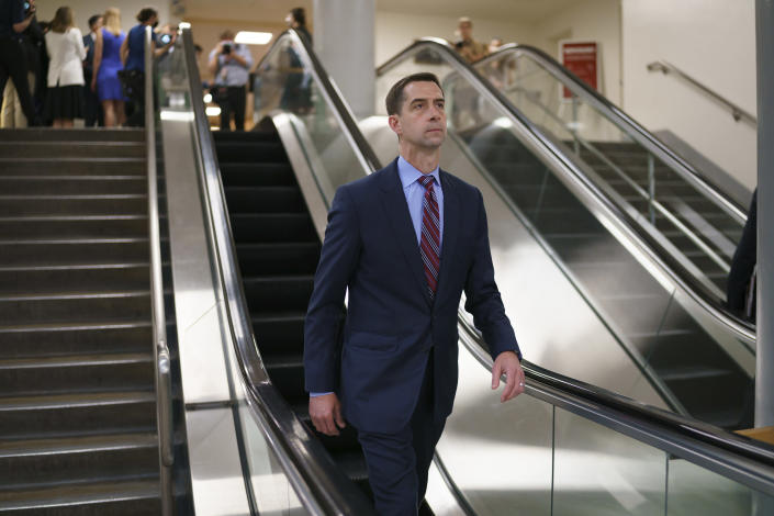 FILE - In this May 27, 2021, file photo, Sen. Tom Cotton, R-Ark., takes the escalator as senators go to the chamber for votes ahead of the approaching Memorial Day recess, at the Capitol in Washington. The midterms are more than a year away and there are 1,225 days until the next presidential election. But Republicans eyeing a White House run are wasting no time in jockeying for a strong position in what could emerge as an extremely crowded field of contenders. Cotton is slated to visit Iowa on June 29. (AP Photo/J. Scott Applewhite, File)