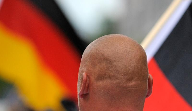 A far-right extremist attends a 2012 neo-Nazi rally in Dresden, eastern Germany