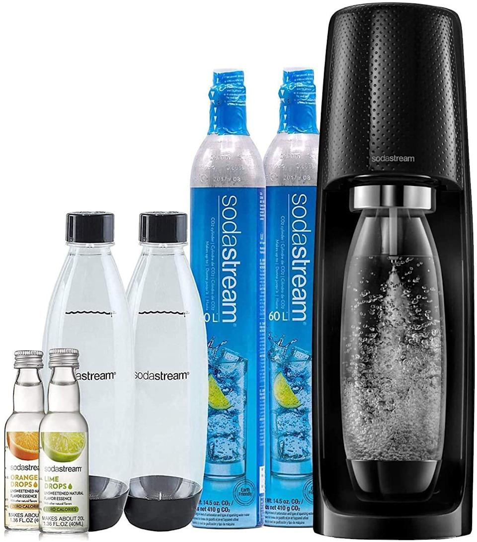 """<br><br><strong>SodaStream</strong> Fizzi Sparkling Water Maker Bundle, $, available at <a href=""""https://amzn.to/3lOPcD0"""" rel=""""nofollow noopener"""" target=""""_blank"""" data-ylk=""""slk:Amazon"""" class=""""link rapid-noclick-resp"""">Amazon</a>"""