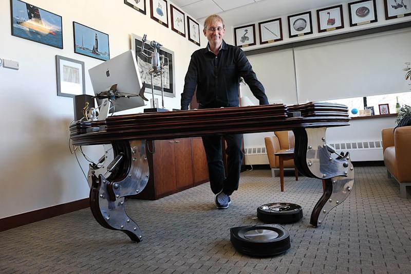 Colin Angle, the CEO of iRobot, best known for the Roomba vacuum cleaner, poses for a portrait in Bedford, MA on Jan. 22, 2020. Photo: Suzanne Kreiter/The Boston Globe via Getty Images