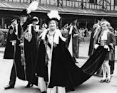 <p>Here, Prince Charles and the Queen Mother lead a procession of Knights of the Garter after the Prince was invested as a member.</p>