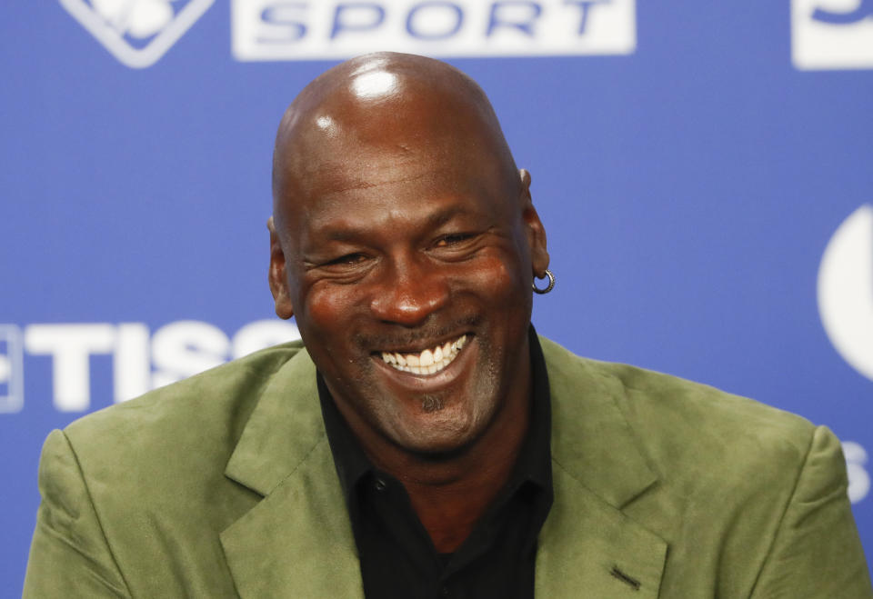 Former basketball superstar Michael Jordan speaks during a press conference ahead of NBA basketball game between Charlotte Hornets and Milwaukee Bucks in Paris, Friday, Jan. 24, 2020. (AP Photo/Thibault Camus))