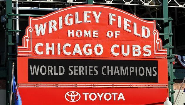 The Wrigley Field marquee says it all. The Chicago Cubs are World Series champions. (Getty Images)