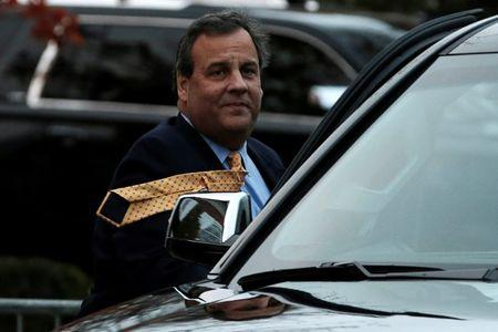 New Jersey Governor Chris Christie departs after meeting with U.S. President-elect Donald Trump at Trump National Golf Club in Bedminster
