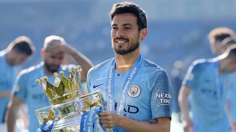 David Silva Manchester City Premier League trophy 2019-20
