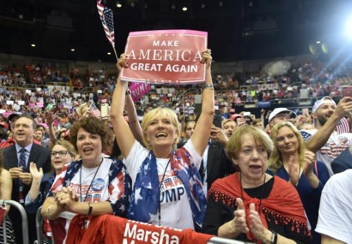 Supporters cheer as US President Donald Trump addresses a campaign-style rally in Nashville, Tennessee on May 29, 2018 -- one of several he aims to hold ahead of November's mid-term elections