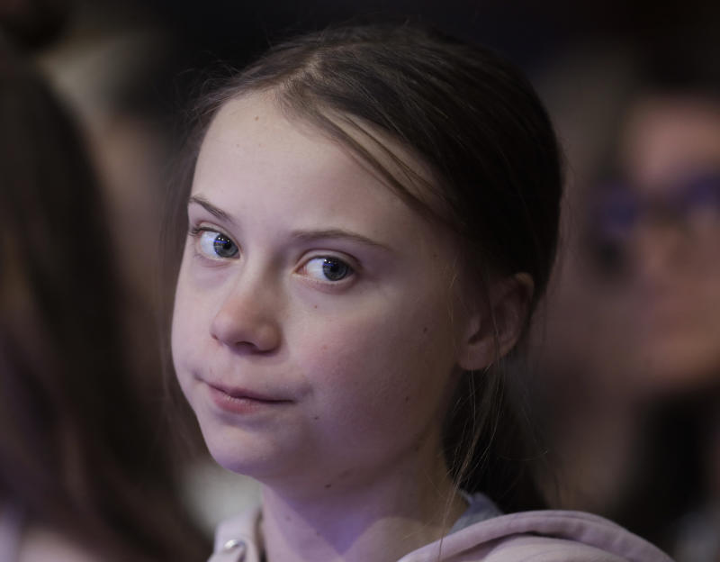 Swedish environmental activist Greta Thunberg attends the World Economic Forum in Davos, Switzerland, Tuesday, Jan. 21, 2020. The 50th annual meeting of the forum will take place in Davos from Jan. 21 until Jan. 24, 2020. (AP Photo/Michael Probst)