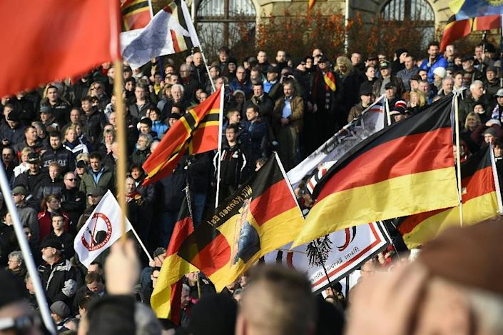 Supporters of the Pegida movement (Patriotic Europeans Against the Islamisation of the Occident) gather in Dresden, eastern Germany, on February 6, 2016 (AFP Photo/Tobias Schwarz )
