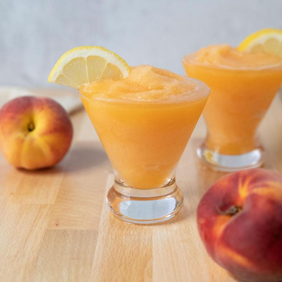 <p>The Bee's Knees is a popular classic cocktail made with a blend of gin, lemon and honey. This fruity frozen version is blended with frozen peaches and plenty of ice for a crisp and refreshingly light summer cocktail.</p>