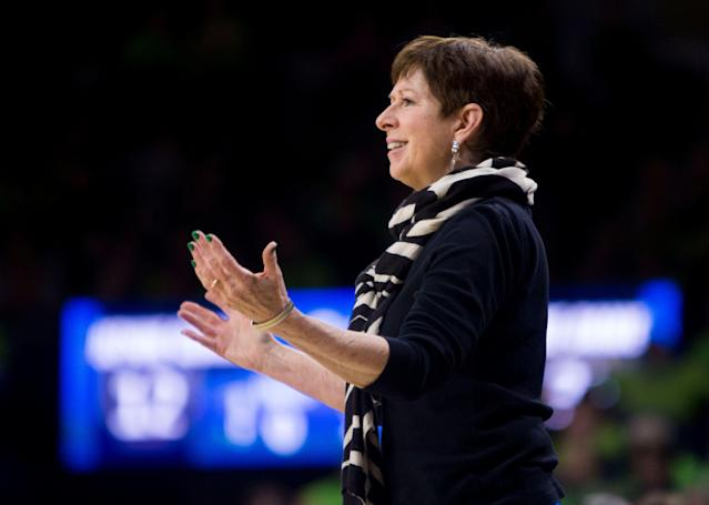 Notre Dame head coach Muffet McGraw does not like to lose at anything. (AP Photo/Robert Franklin)
