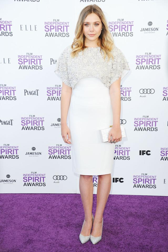 SANTA MONICA, CA - FEBRUARY 25:  Actress Elizabeth Olsen arrives at the 2012 Film Independent Spirit Awards on February 25, 2012 in Santa Monica, California.  (Photo by Alberto E. Rodriguez/Getty Images)
