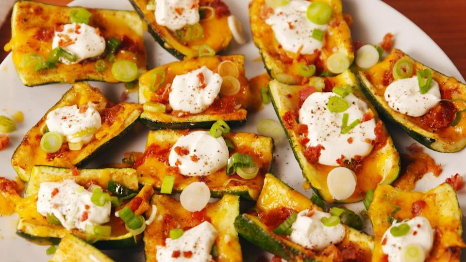 """<p>This is the low-carb solution to your potato skins craving.</p><p>Get the recipe from <a href=""""https://patty-delish.hearstapps.com/cooking/recipe-ideas/recipes/a53687/loaded-zucchini-skins-recipe/"""" rel=""""nofollow noopener"""" target=""""_blank"""" data-ylk=""""slk:Delish"""" class=""""link rapid-noclick-resp"""">Delish</a>.</p>"""