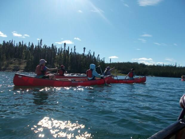 Participants of Northern Youth Leadership's 2020 canoe trip program, an NWT On The Land Collaborative grant recipient.