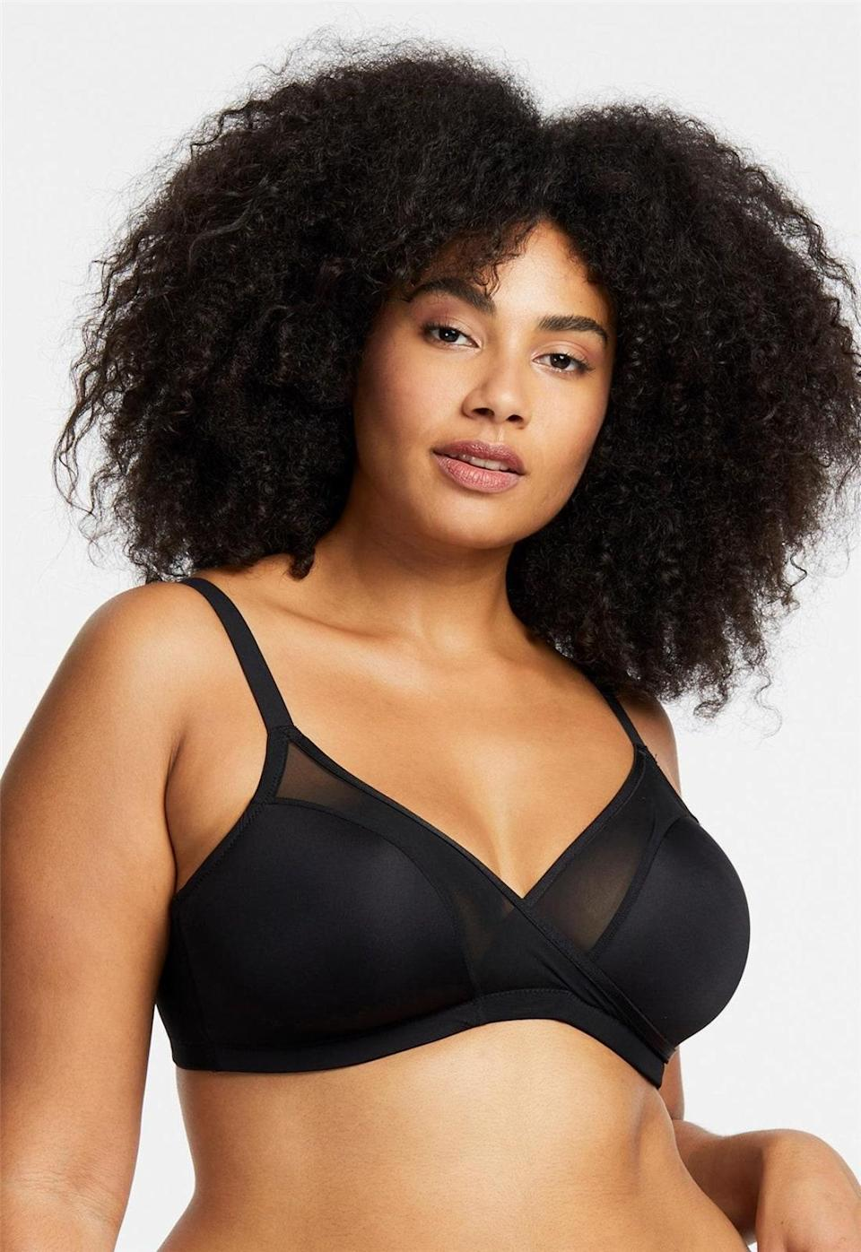 """Bigger busts can wear this wire-free bra under just about anything for invisible coverage. It comes in beige as well, with ultra-thin foam cups for a smoothing effect. $52, Nordstrom. <a href=""""https://www.nordstrom.com/s/montelle-intimates-wire-free-plus-bra/5821284?color=black"""" rel=""""nofollow noopener"""" target=""""_blank"""" data-ylk=""""slk:Get it now!"""" class=""""link rapid-noclick-resp"""">Get it now!</a>"""