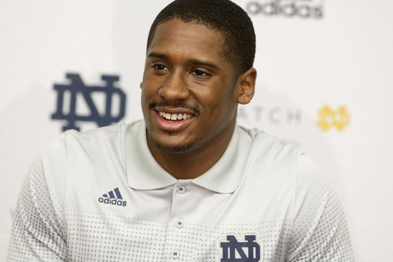 Notre Dame quarterback Everett Golson speaks to the media after the opening day of spring football practice on Monday, March 3, 2014, in South Bend, Ind