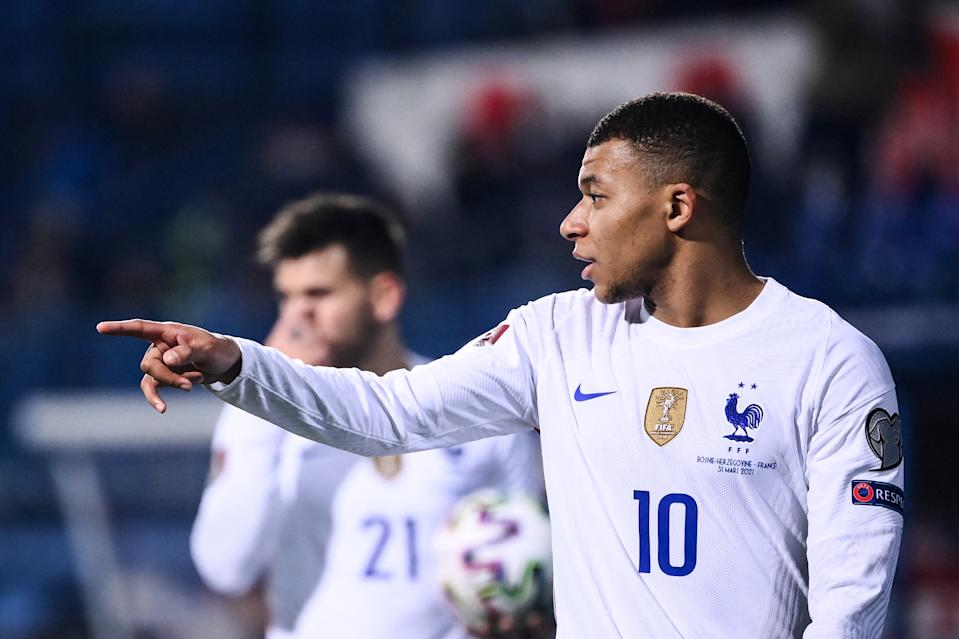 France's forward Kylian Mbappe reacts during the FIFA World Cup Qatar 2022 qualification Group D football match between Bosnia-Herzegovina and France at the Grbavica Stadium, in Sarajevo, on March 31, 2021. (Photo by FRANCK FIFE / AFP) (Photo by FRANCK FIFE/AFP via Getty Images)