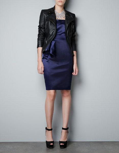 """<div class=""""caption-credit""""> Photo by: Zara</div><b>Zara satin dress with side panel, $89.90, and leather biker jacket, $249, zara.com</b> <br> Navy and black, satin and leather, dressy and punky. These combos are all winners!"""
