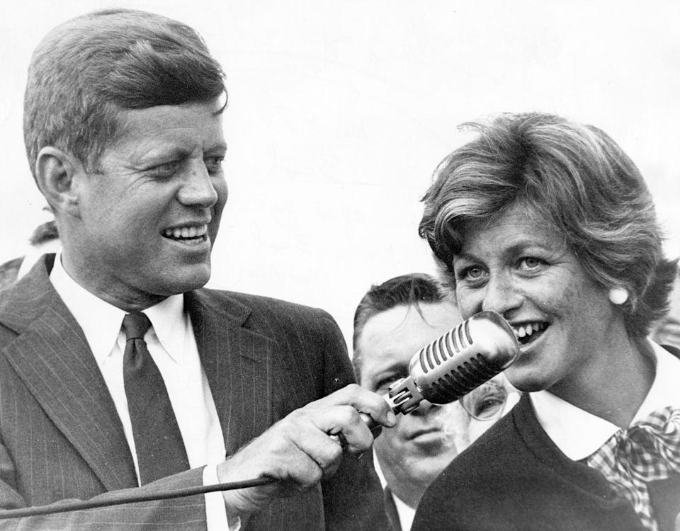 <p>Then-Senator John Kennedy and Jean spoke to a crowd at Logan Airport in Boston after JFK was declared the Democratic nominee for President.</p>