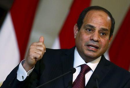 Egypt's President Abdel Fattah al-Sisi speaks to the media after the signing ceremony for a deal to build Egypt's first nuclear power plant between Egypt and Russia at the Ittihadiya presidential palace in Cairo