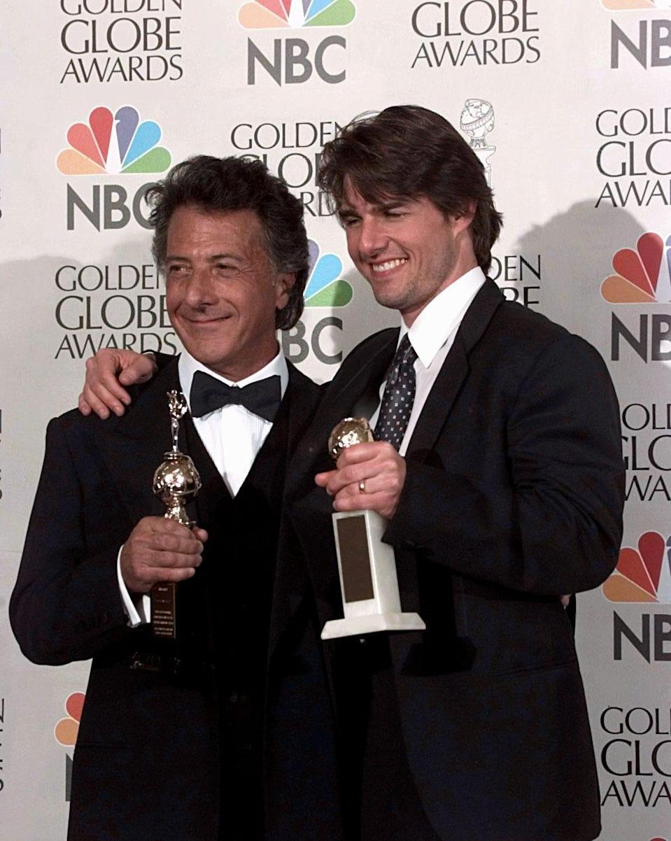 """Tom Cruise (right, with Dustin Hoffman) won best actor for """"Jerry Maguire"""" at the 1997 Golden Globes – a trophy that's been unceremoniously returned to the Hollywood Foreign Press Association."""