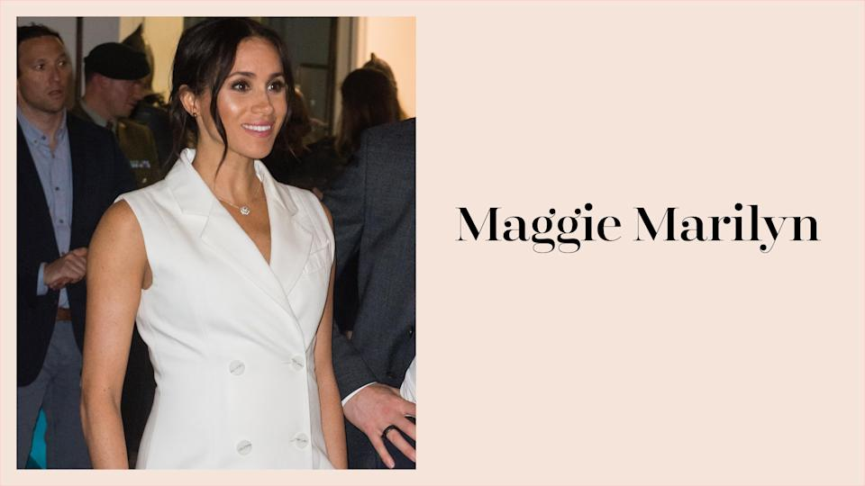 Meghan Markle wears a chic white blazer dress by Maggie Marilyn in New Zealand. (Photo: Getty Images)