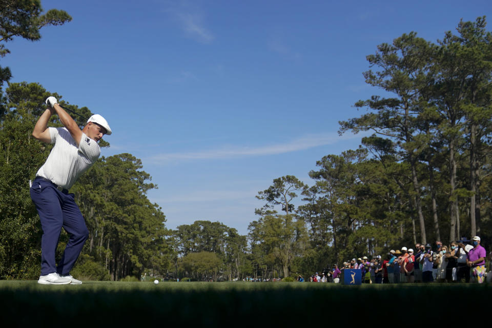 Bryson DeChambeau hits his tee shot on the 10th hole during the final round of The Players Championship golf tournament Sunday, March 14, 2021, in Ponte Vedra Beach, Fla. (AP Photo/Gerald Herbert)