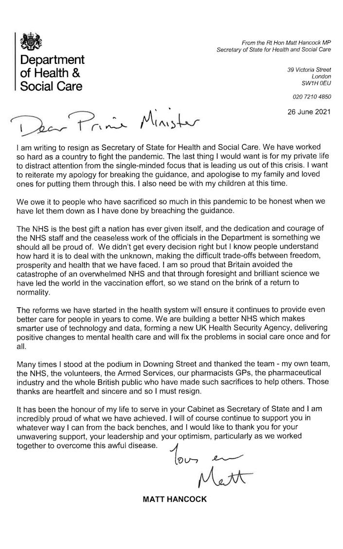 The letter sent to the Prime Minister by Matt Hancock, offering his resignation