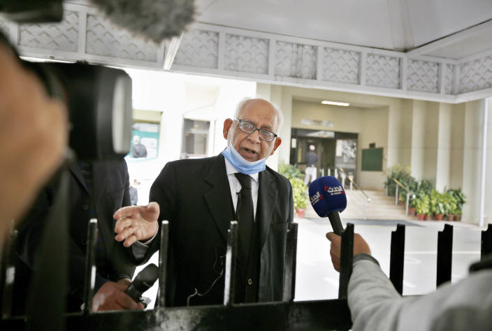 Rauf A. Sheikh, defense lawyer of British-born Pakistani Ahmed Omar Saeed Sheikh, talks to media following Daniel Pearl case hearing in the Supreme Court, in Islamabad, Pakistan, Tuesday, Feb. 2, 2021. Pakistan's Supreme Court on Tuesday ordered the Pakistani-British man acquitted of the 2002 gruesome beheading of American journalist Daniel Pearl off 'death row' and moved to a so-called government 'safe-house'. (AP Photo/Anjum Naveed)