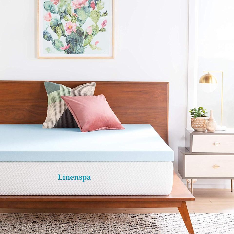 Linenspa 3-Inch Gel Infused Memory Foam Mattress Topper. (Photo: Amazon)