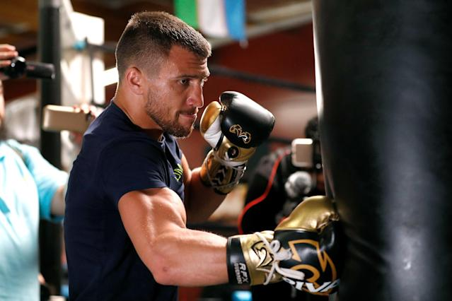 Vasiliy Lomachenko during a media workout on April 24, 2018 in Oxnard, California. (Getty)