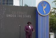 Cedric the Entertainer, host of Sunday's 73rd Primetime Emmy Awards, addresses reporters during the show's Press Preview Day, Wednesday, Sept. 14, 2021, at the Television Academy in Los Angeles. The awards show honoring excellence in American television programming will be held at the Event Deck at L.A. Live. (AP Photo/Chris Pizzello)