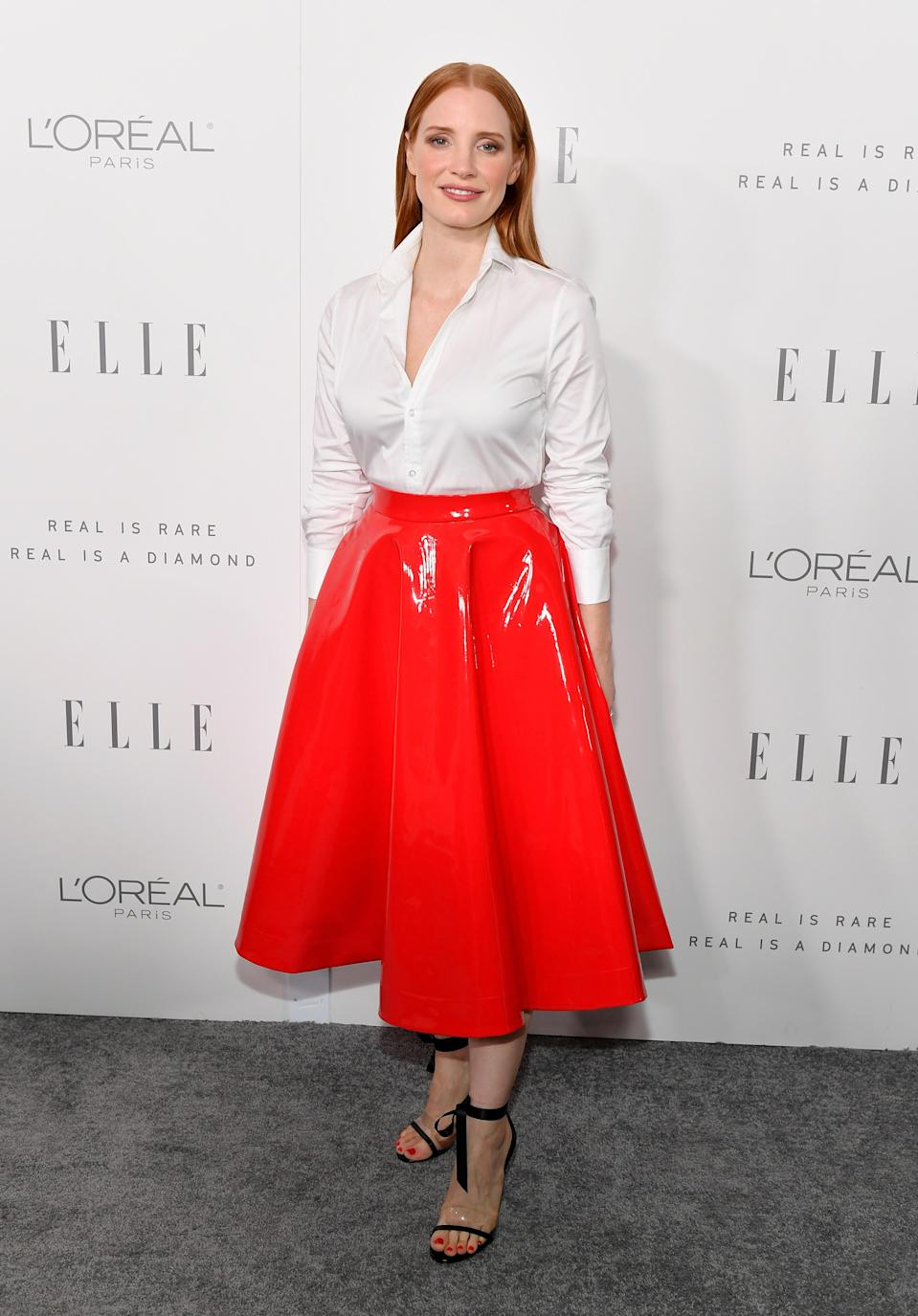 Jessica Chastain attends the <em>Elle</em> Women in Hollywood Awards in L.A. on Oct. 16, 2017. (Photo: Getty Images)